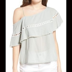 3/$20 SUN & SHADOW One Shoulder Ruffle Tank Top S